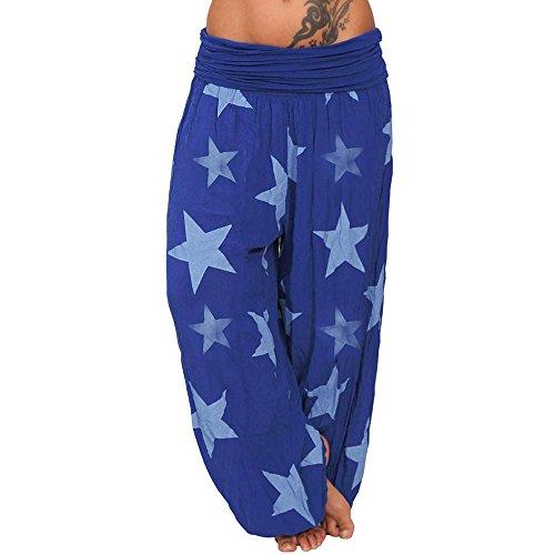 (Fuladelt Women's Baggy Harem Yoga Pants Long Wide Leg Loose Leggings Sport Trousers Star Print Tight Hem Beach Sweatpants Dark)