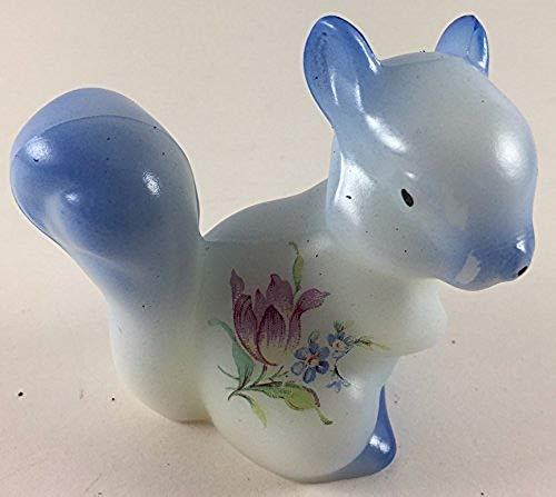 Fenton Art Glass Squirrel - American Made - Blue Airbrushing Decorated w/Floral