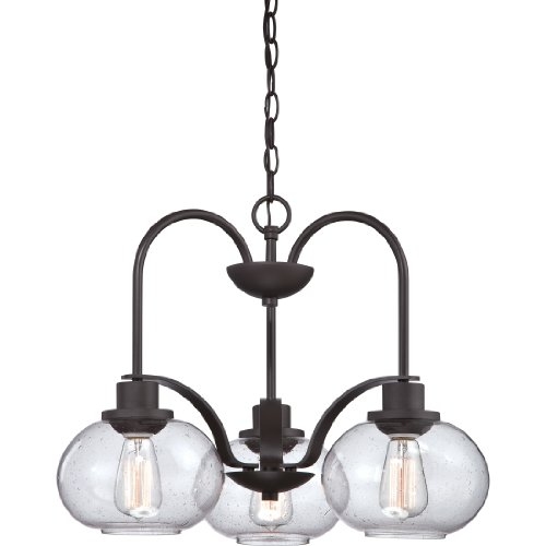 Quoizel TRG5103OZ Trilogy with Old Bronze Finish,  Dinette Chandelier and 3 Lights,  Brown Old Bronze Finish Chandeliers