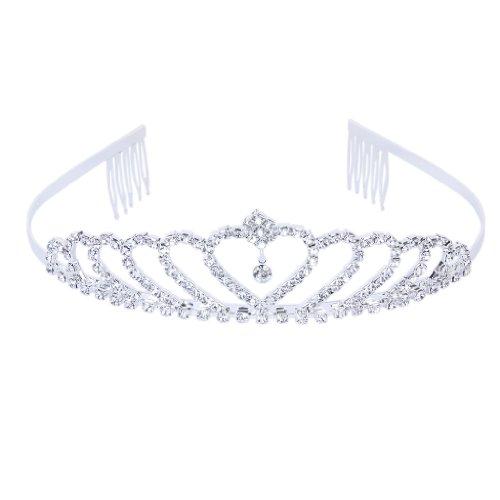 Stylish Rhinestones Princess Crown Headband Hair Clip Tiara Wedding Bride Pin