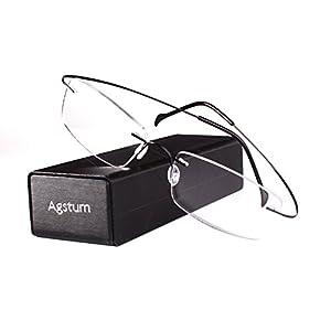 Agstum Pure Titanium Rimless Frame Prescription Hingeless Eyeglasses Rx (Black, 55)