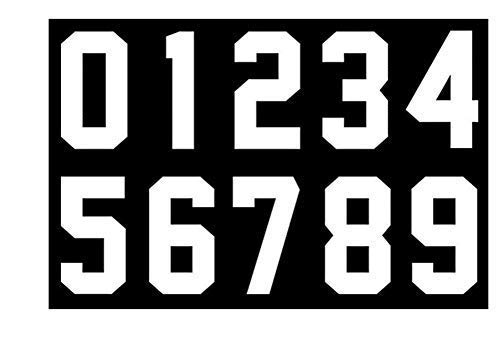 Numbers Kit(0-9),3 Inch Tall for Sports T-Shirt Jersey Football Baseball,Iron On, Heat Transfer, Team,t-Shirt(0-9) (White)