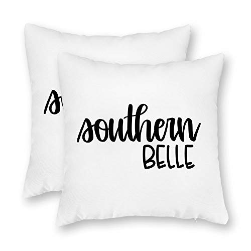 - Remain Unique Southern Belle Black and White 2 Pack Decorative Throw Pillow Case Cushion Cover for Couch Sofa Bed,Printed Pillowcase Sets,22x22 Inch