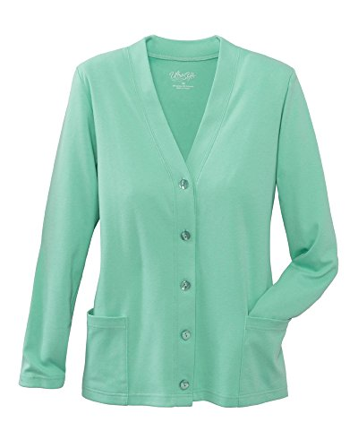 UltraSofts Button-Front Knit Cardigan, Harbor Mist, Small Petite