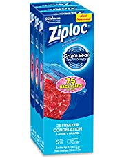 Ziploc Large Food Storage Freezer Bags, Grip 'n Seal Technology for Easier Grip, Open, and Close, 75 Count