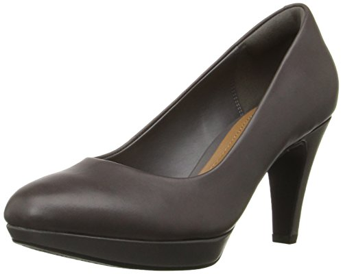 Clarks Women's Brier Dolly Dress Pump, Grey Leather, 9.5 M US