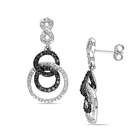 14k Gold Plated Black & White Simulated Diamond Triple Circle Infinity Drop Earrings - Diamond Triple Circle Earrings