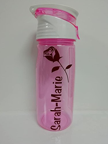 Name and Rose 500ml Personalised Sports Bottle, BPA free, Leak Proof