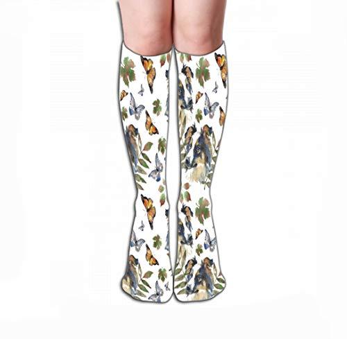 - Xunulyn Men Women Outdoor Sports High Socks Stocking Pattern Border Collie Butterfly Pattern Border Collie Butterfly Floral Tile Length 19.7