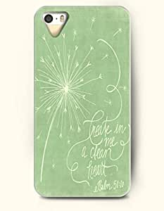 Creat In Me A Clean Heart Psalm 51:10 - Bible Verses - iPhone 5 / 5s Hard Back Plastic Green