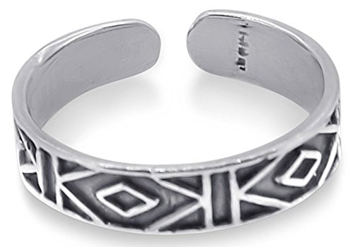 925 Sterling Silver Toe Ring Collection Flexible and Hypoallergenic The Maze ()