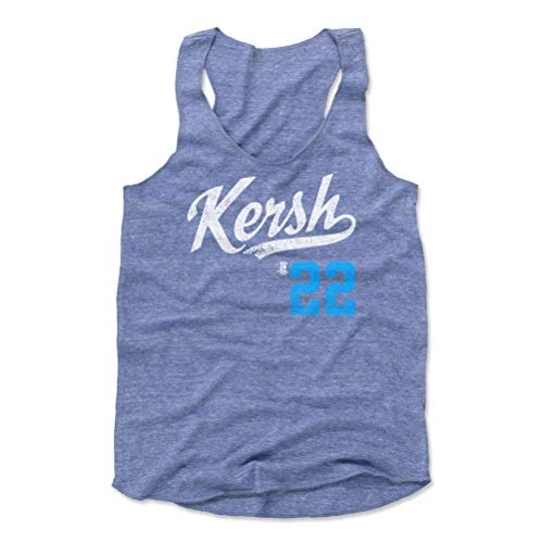 (500 LEVEL Clayton Kershaw Women's Tank Top Medium Pacific Blue - Los Angeles Baseball Women's Apparel - Clayton Kershaw Kersh Players Weekend L WHT)