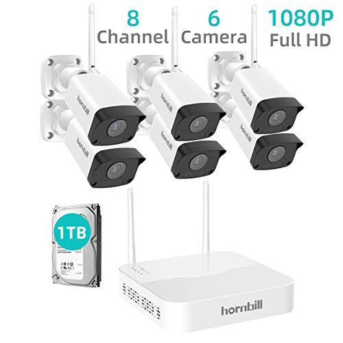 Security Camera System Wireless,Hornbill 8 Channel 1080P Outdoor Home WiFi Security Surveillance Camera System,6pcs 1080P IP Security Camera and 1TB Hard Drive Installed No Monthly Fee
