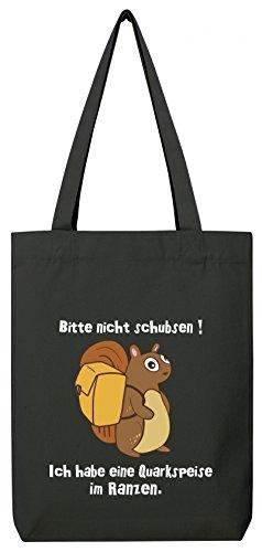 ShirtStreet Premium Bio Baumwoll Tote Bag Jutebeutel Stanley Stella Eichhörnchen - Bitte nicht schubsen Black
