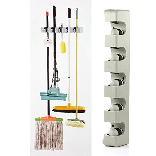 Marketworldcup - Kitchen Organizer Wall Shelf Mounted Hanger 5 Position Kitchen Storage Holder for Mop Brush Broom Mops Organizer Tool