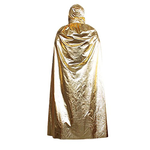 Sunbona Women's Hooded Cloak Coat Wicca Robe Medieval Wrap Cover Up Cape Shaw For Halloween Elven Witch Party (Gold) ()
