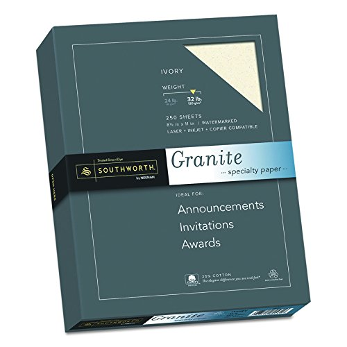 "Fine Ivory Business Paper (Southworth 25% Cotton Granite Specialty Paper, 8.5"" x 11"", 32 lb., Ivory, 250 Sheets (J938C))"