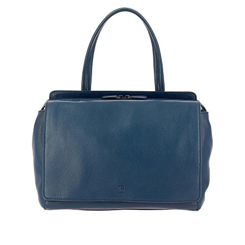 DUDU Bolso Mujer Grande Elegante Verdadera Piel Espacioso Doble bolsillo exterior con Asa y Bandolera desmontable Azul