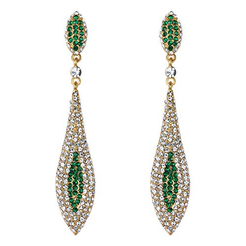 (EVER FAITH Rhinestone Crystal Elegant Banquet Prom Double Teardrop Pierced Dangle Earrings Green Gold-Tone )