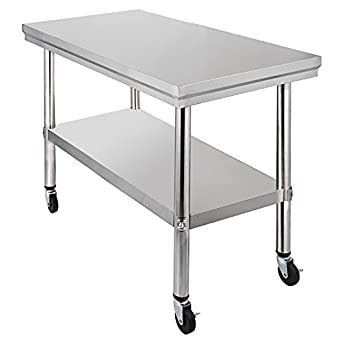 Attrayant Mophorn NSF Stainless Steel Work Table With Wheels 30x24 Prep Table With  Casters Heavy Duty Work