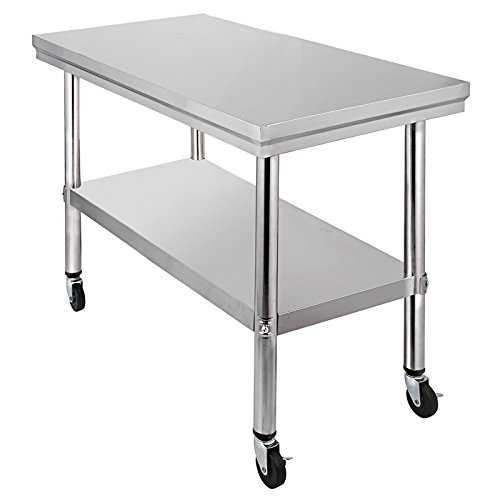 Mophorn NSF Stainless Steel Work Table With Wheels X Prep Table - Stainless steel work table on casters