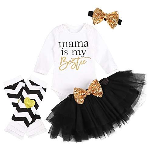 3 Piece Skirt Outfit - Newborn Infant Baby Girl Outfits Short Sleeve Romper Bodysuit+Tulle Tutu Dress+Headband Clothes 3Pcs Skirt Set (Mama-Long Sleeve, 12-18 Months)