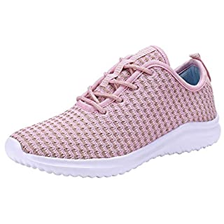 YILAN Women's Fashion Sneakers Breathable Sport Shoes (7, Pink)