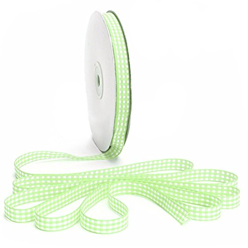 Gingham Ribbon - SODIAL(R)45m Full Reel Cut Lengths Gingham Ribbon Sewing Crafts, 10mm Wide Light (Green Gingham Ribbon)