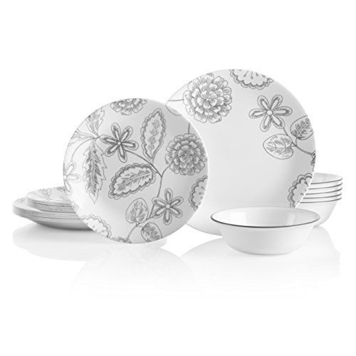 Corelle 18-Piece Service for 6, Chip Resistant, Reminisce Dinnerware Set (Dinnerware Style Vintage)