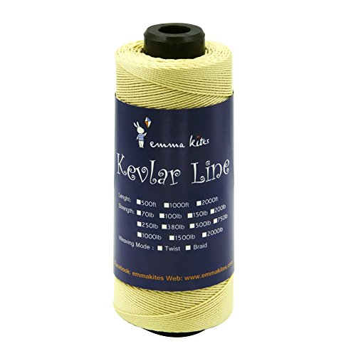 EMMAKITES 70~2000lbs Kevlar Kite String Braided / Twisted on a Roll for Single Line Kite Flying Outdoor Living Tactical Fishing