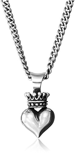 - King Baby Sterling Silver Curb Link Chain with 3D Crowned Heart Pendant Necklace, 18