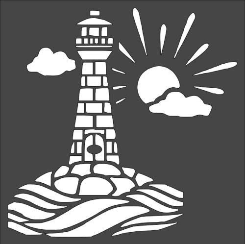 1-8x8 inch Custom Cut Stencil, Nautical Lighthouse, (BA-4)