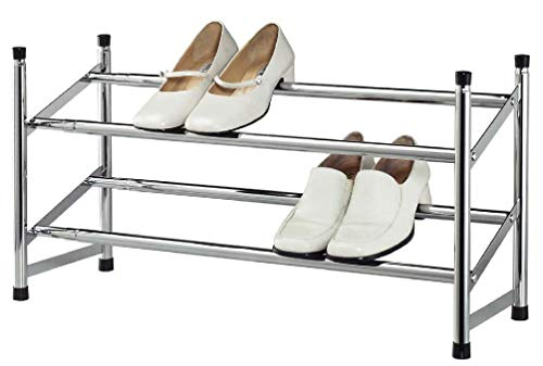 - Expandable Space Saving Two Tier Chrome Bedroom Closet 8 Pair Shoe Rack