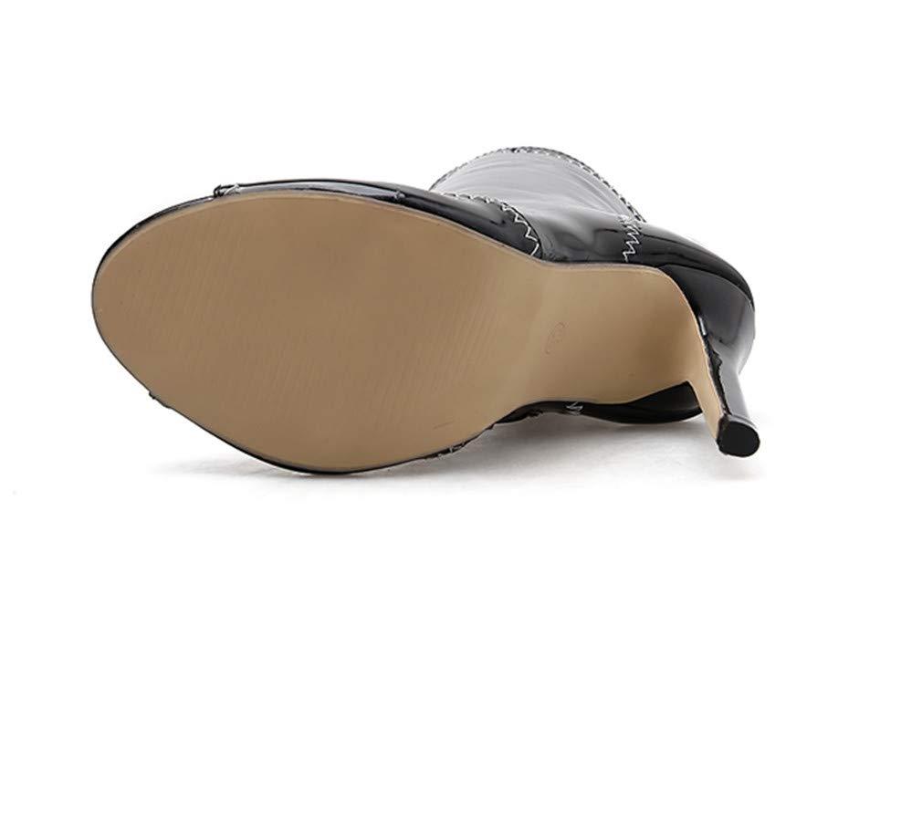 ELEGENCE-Z High Heels, Einfaches Einfaches Einfaches Europa und Amerika Farbabstimmung Lackleder Schwarz mit Weiß Sexy Fish Mouth Hollow High Heel Coole Stiefel 2b0583