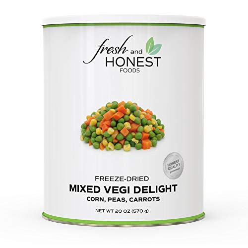 Fresh and Honest Foods 100% All Natural Freeze Dried Mixed Vegi II (Peas, Corn, Carrots) 20.1 OZ #10 - Corn Mixed
