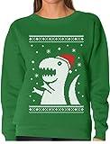 teestars - ugly christmas sweater big t-rex santa dinosaur women sweatshirt xx-large green