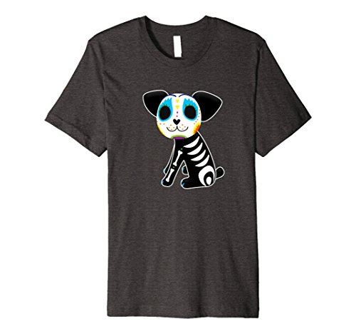 Mens Sugar Skull Dog Premium T-Shirt XL Dark (Sugar Daddy Costumes For Halloween)
