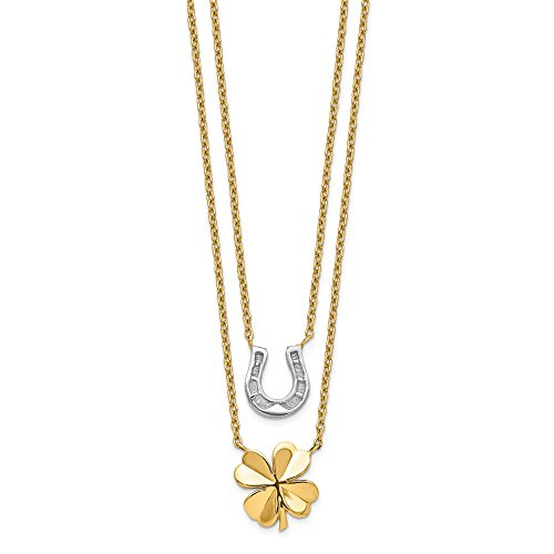 14k Yellow and White Gold Two-tone 2-Strand Clover & Horseshoe Necklace Length 17 (Qg White Gold Horseshoes)