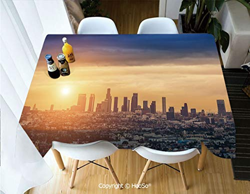 Printed Table Cloth, Rectangle Table Cover in Washable Polyester for Parties, Holiday Dinner, Wedding & More,City,Sunrise at Los Angeles Urban Architecture,53