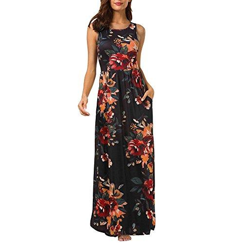 Beauty&YOP Women Vintage Printed Ethnic Style Summer Shift Dress Loose Plain Maxi Dresses Casual Long Dresses Pocket Maxi Long Dress Boho Floral Print Flowy Party Dress -