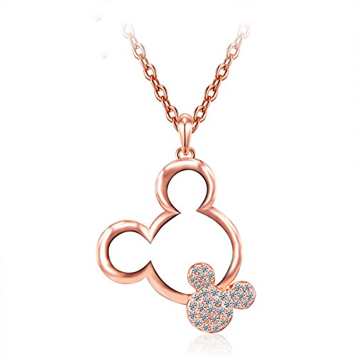 ERLUER Women's Mickey Pendant Necklaces For Women Rose Gold Platinum Plated Mouse Charm Jewelry Necklace Wedding Gift (Rose Gold ()