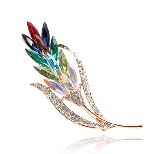 Multi-Color Crystal Wheat Brooches For Women Rhinestone Brooch Pin Fashion Jewelry Coat Dress Corsage Flower Style mix color