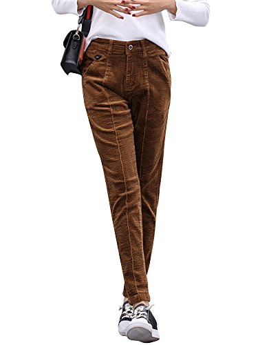 - Gooket Women's Stretch Corduroy Skinny Ankle Pants Slim Pencil Pants Dark Brown Tag 33-US 14