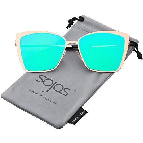 SOJOS Cateye Sunglasses for Women Fashion Mirrored Lens Metal Frame SJ1086 with Gold Frame/Green Mirrored Lens by SOJOS