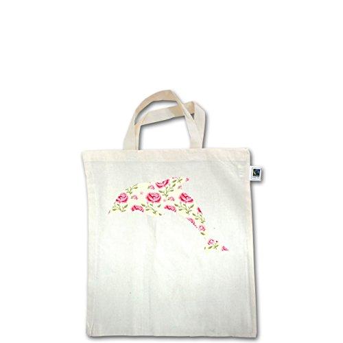 Sonstige Tiere - Delfin Blumen Rose - Unisize - Natural - XT500 - Fairtrade Henkeltasche / Jutebeutel mit kurzen Henkeln aus Bio-Baumwolle