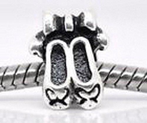 Ballet Slippers Shoes Ballerina Dancer Bead fits Silver European Charm Bracelets ()