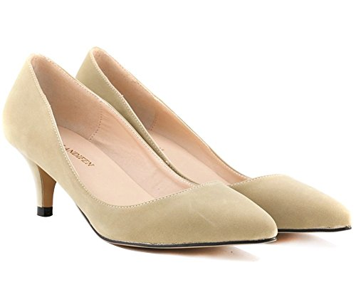 Wealsex Womens Ladies Mid Heel Court Shoes Suede Pointed Comfort Sexy Slip On Party Wedding Work Court Shoes Sizes UK 2.5-7.5 Beige oU6z5wL