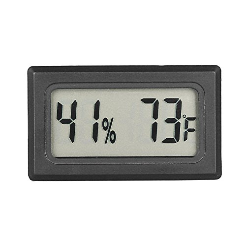 Qooltek Mini Hygrometer Thermometer LCD Display Digital Temperature Humidity Meter Gauge for Incubators Reptile and Humidors (Fahrenheit)