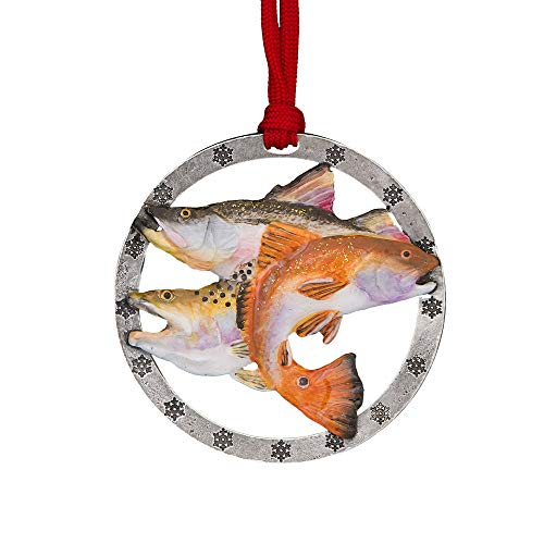 Creative Pewter Designs Gulf Slam Hand Painted Ornament, - Painted Ornament Pewter