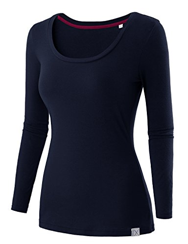 REGNA X Basic women's Boat Scoop Neck Long Sleeve Soft & Stretch T-Shirt, 16241_dark Navy, Large ()